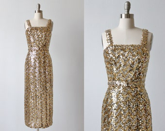 Lilli Diamond Sequin Dress / Gold and Silver Sequins / 1960s Dress / Spotlight