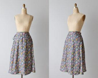 Vintage Wrap Skirt / 1980s Wrap Skirt / Wrap Around Skirt / Floral Print / Prairie Skirt