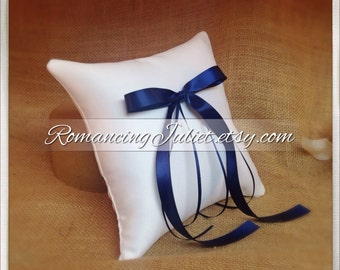 Simple Elegance Ring Bearer Pillow...You Choose Your Colors..Buy One Get One Half Off..shown in white/navy blue