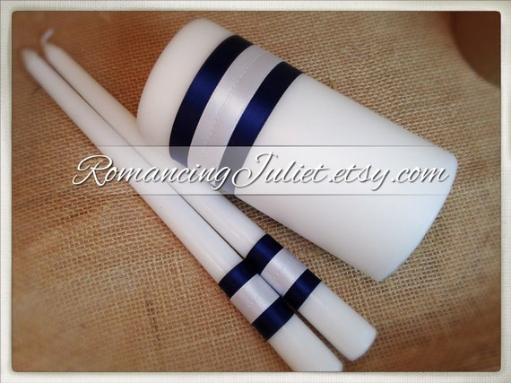 Custom Colors Unity Candle 3 Piece Set....You Choose The Ribbon Colors...Free Rush..shown in white/navy blue