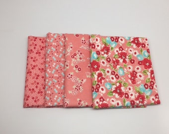 SUMMER SALE - Fat Quarter Bundle (4) - Little Ruby in Pink - Bonnie and Camille for Moda Fabrics