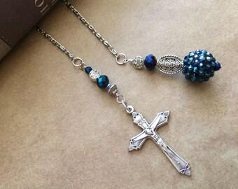 Midnight Blue Crucifix Book Thong