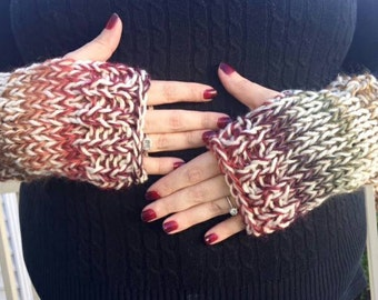Gradient ribbed cuffs fingerless gloves