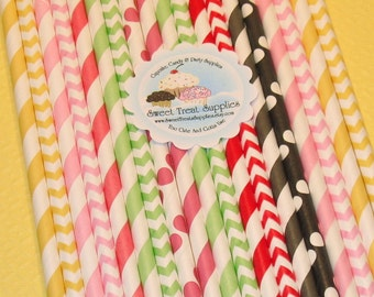 NEW - Lady Bug Love Straw Collection (Qty 39)  Straws, Paper Straws, Vintage Inspired Paper Straws, Striped Straws, Chevron Straws