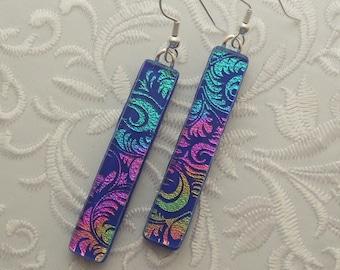 Rainbow Earrings - Dichroic Fused Glass Earrings - Long Earrings - Stick Earrings - Fashion Acessories - Dangle X4875