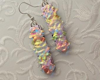Bohemian Earrings - Boho - Dichroic Fused Glass Earrings - Crystal Earrings - Chandelier Earrings - Prism - Boho - Fused Glass 2806