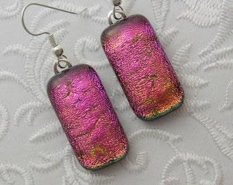 Pink Earrings - Dichroic Fused Glass Earrings - Bohemian Earrings - Boho - Dichroic Earrings - Dichroic Jewelry X8462