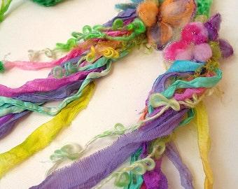hand knit soft art yarn summer flower scarf -  bloomings rainbow garden scarf