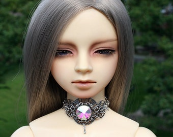 BJD Silver Choker with Choice of Crystal Color