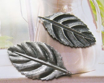 3 pcs 48mm - Antique silver big leaf charm / findings (CM-028)