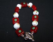 Green, White and Red Lampwork Bracelet