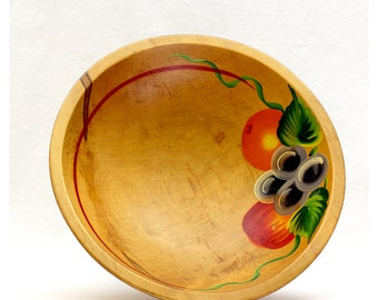 Vintage 40s Wood Dough Bowl Hand painted with Fruit