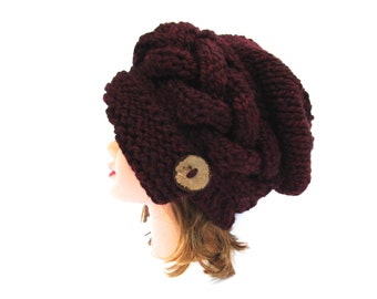 Claret Cloche - Slouchy Hat With Button - Cable Knit Hat - Flapper Hat - 1920s cloche hat - Women's chunky hat