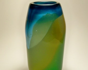 Hand Blown Glass Vase with Landscape Colors of Aqua Blue,Emerald Green and Amber