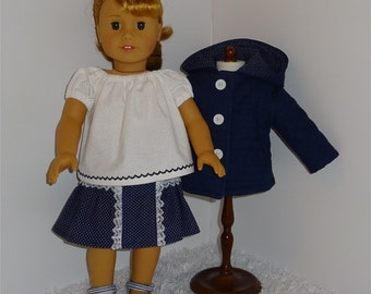 Navy Blue Three-Piece Jacket Set, Fits 18 Inch American Girl Dolls