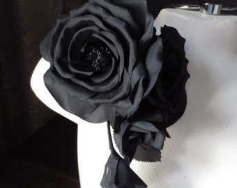 SALE Silk Millinery BLACK Rose Corsage for Bridal, Millinery MF118