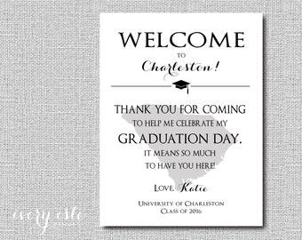 Custom State Graduation Welcome Note, Thank You - Digital File Only