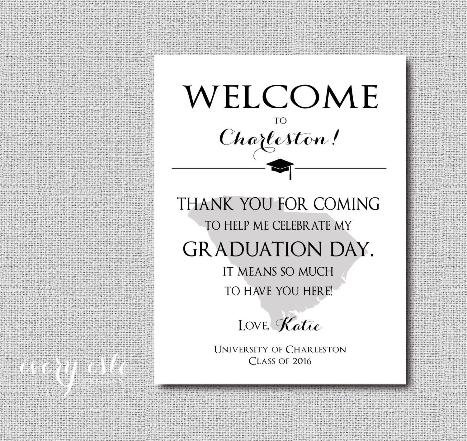 Custom State Graduation Welcome Note Thank You Digital File