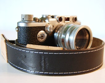Camera Strap Deluxe Stitched Black Leather Custom Monogram Engraving for Photographers Ideal for DSLR Canon Nikon and all Cameras