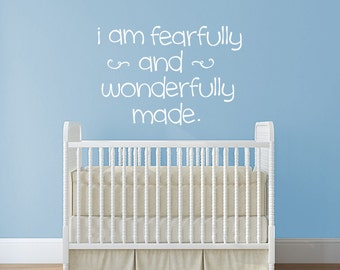 I am fearfully and wonderfully made wall decal, nursery wall art, scripture decor, Bible quote decal, childrens church decor