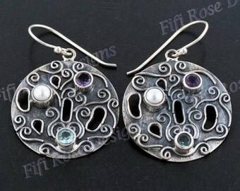 """1"""" Blue Topaz Amethyst Biwa Pearl 925 Sterling Silver Earrings"""
