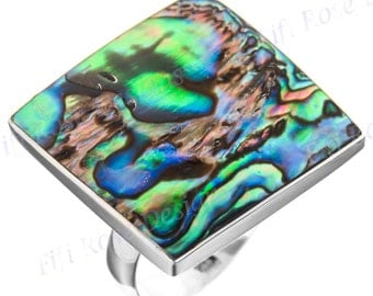 """1"""" Square Paua Abalone Shell 925 Sterling Silver Us 9 Ring"""