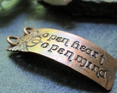 open heart. open mind. -  pendant in warm copper