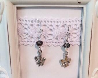 Fleur De Lis Silver Dangle Earrings