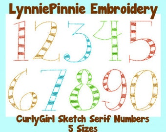 CurlyGirl Serif Sketch Triple Run Embroidery Numbers Set  5 sizes Machine Embroidery Design