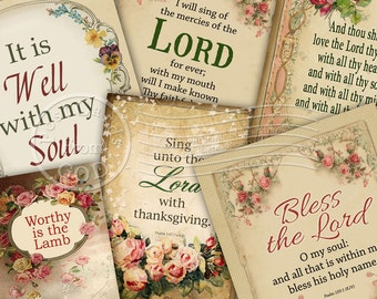 Bless The Lord / Christian / Religious / Mixed Sizes - Printable Instant Download Hang Tags, Download and Print Digital Sheet