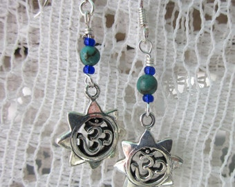 OM Earrings, Om inside lotus earrings with turquoise