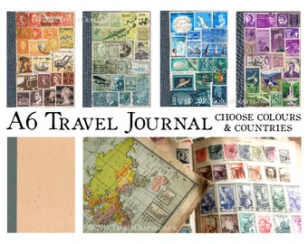 Travel Journal, A6 Traveler's Notebook Cahier, TN Dori Insert | custom colours & countries, Travel Memory Book | recycled stamp art journal