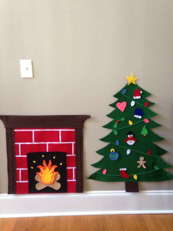 felt christmas tree and fireplace