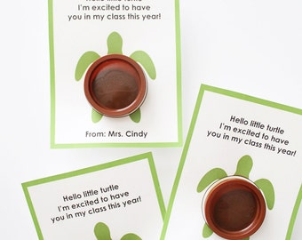Meet The Teacher Turtle Playdoh Printable Card/Gift