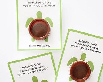 Meet The Teacher Turtle Playdoh Printable Card/Gift