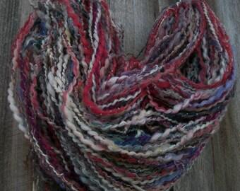 Art crazy yarn. Multicolored hand spun yarn. Assorted fiber yarn. Huge skein. Happy spinners laugh.