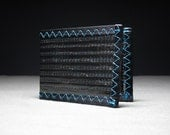 Mens Wallet - Carbon Fiber Bifold ID w/Bill Pocket Divider - Black and Teal - Border Bifold