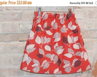 SALE Modern A-line Skirt - Red Vintage Floral Cotton Fabric - toddler girls clothing - kids spring summer fashion - sizes 2T 3T 4 5 6 7 8