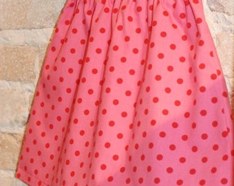 SALE Pink and Red Polkadots A-line Skirt - modern toddler girls clothing - fall fashion - made to order - sizes 2T 3T 4 5 6 7 8