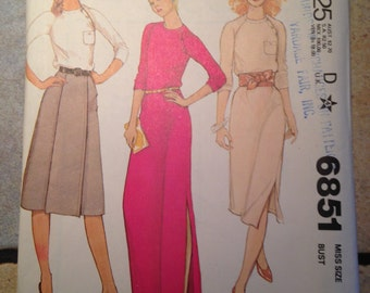McCalls 6851 Size 12 Misses' Dress, Top, and Skirt Pattern UNCUT