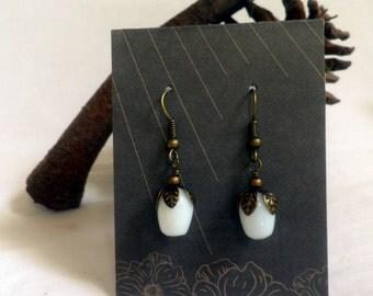 White Berry, Milkglass and Brass earrings