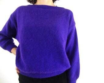 80s angora sweater purple fuzzy cropped boxy dolman small