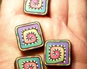 DESTASH -- Four (4) Multicolor Square Polymer Clay Beads with Rainbow Spiral Design