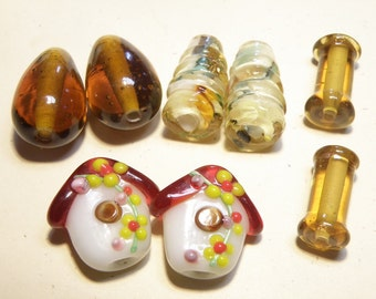 DESTASH -- Four (4) Pairs Assorted Lampwork Earring Beads