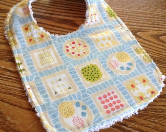Chenille Back Baby Bib, Snap Closure, Backyard Garden