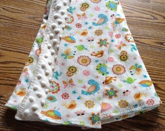 """Soft Knit Blanket with Minky Dot on Back 28""""x26. Birds and Blossoms"""