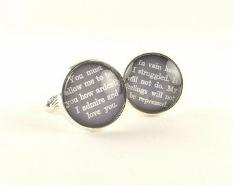 Pride and Prejudice Cufflinks - Jane Austen Mr Darcy Cuff Links - Romantic Gift For Him - Anniversary Gift For Husband - Book Lover Gift