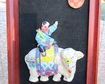 Vintage Porcelain Chinese Boy Riding Elephant Mounted 3d Figurine Framed Ceramic Pottery Wall Art Hanging