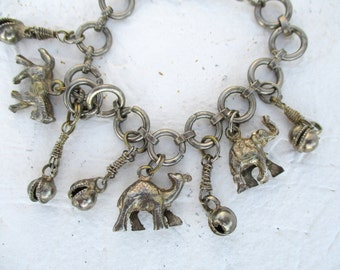 Vintage Tribal Silver Charms & Bells Bracelet Elephant Horse Camel Jingle Bell Ethnic Jewelry