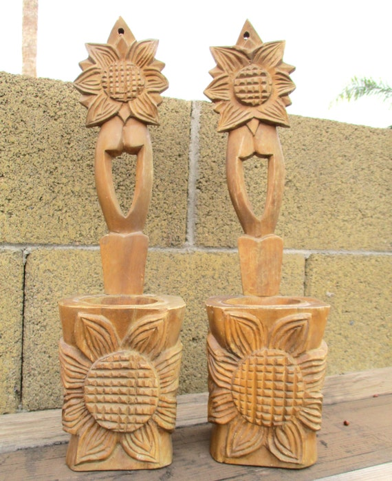 Vintage flower high relief wood carving planters candle